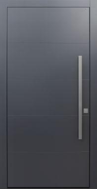 Haustür modern, dunkelgrau, anthrazit, TOPICcore, Sicherheitstür, passivhaustauglich, besser als Alu