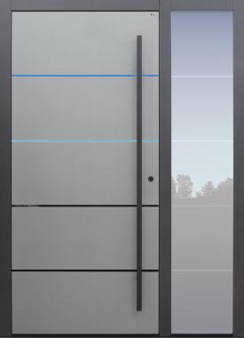 Haustür mit Option 4 Lisenen PVD poliert schwarz und Designpaket mit Stoßgriff schwarz Glasmotiv MS4 mit Seitenteil B1 Modell B9-T1