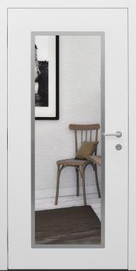 Haustür modern, weiß, Topiccore, Spiegel, Sicherheitstür, passivhaustauglich, besser als Alu