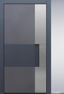 Haustür modern, anthrazit, grau, Schalengriff, TOPICcore, Edelstahl, Sicherheitstür, passivhaustauglich, besser als alu, Seitenteil, Glas