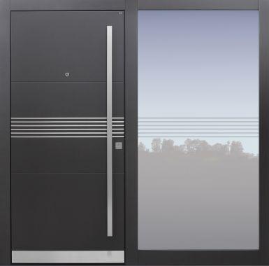 Haustür modern, TOPICcore, Anthrazit, Dunkelgrau, Sicherheitstür, passivhaustauglich, besser als Alu, Glas, Seitenteil, Spion