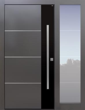 Haustür modern, dunkelgrau, schwarz TOPICcore, mit Seitenteil, Sicherheitstür, passivhaustauglich, besser als Alu, Glas