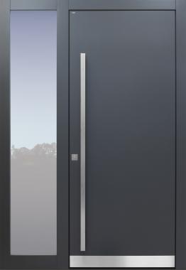 Haustür modern, anthrazit, Seitenteil, TOPICcore, Sicherheitstür, passivhaustauglich, besser als Alu, Glas