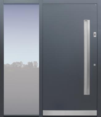 Haustür anthrazit mit Schalengriff auf Kundenwunsch und Fingerprint mit Seitenteil B1 Modell B9-T2