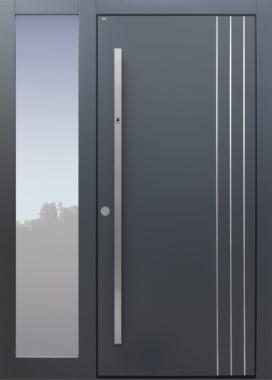 Haustür modern, anthrazit, Fingerprint, Seitenteil, TOPICcore, Sicherheitstür, passivhaustauglich, besser als Alu, Glas