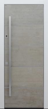 Haustür modern, Beton, grau, Fingerprint, Sicherheitstür, passivhaustauglich, besser als Alu