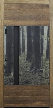 Haustür Altholz Eiche und Keramik Design B915 Wald mit Option Schalengriff und Fingerprint Modell B9-T3