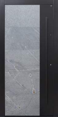 Haustür modern, Keramik, anthrazit, schwarz, TOPICcore, Fingerprint, Himalayastein, grau, Sicherheitstür, passivhaustauglich, besser als Alu