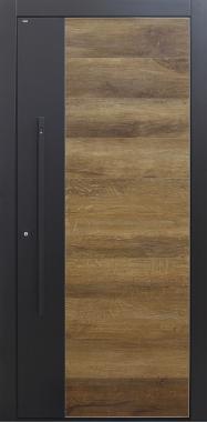 Haustür modern, Keramik, Altholz, Stoßgriff in schwarz, Fingerprint, TOPICcore, Stoßgriff in schwarz, Sicherheitstür, passivhaustauglich, besser als Alu