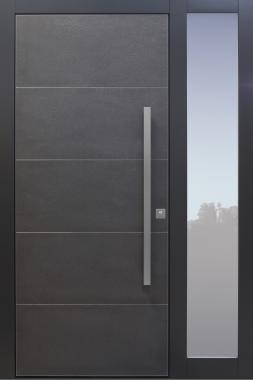 Haustür modern, grau, anthrazit, Keramik, Sicherheitstür, passivhaustauglich, TOPICcore, besser als alu, Glas, Seitenteil