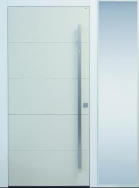 Haustür modern, weiß, TOPICcore, Sicherheitstür, passivhaustauglich, besser als alu, Seitenteil, Glas