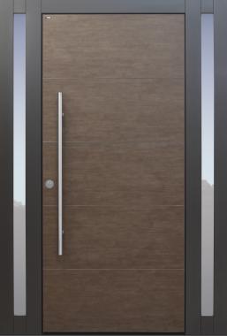 Haustür modern, braun, Keramik, Seitenteil, Sicherheitstür, passivhaustauglich, besser als Alu, Glas