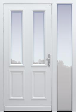 Haustür klassisch weiß mit Glas Klarrand mit Seitenteil B1 Modell C141-T1