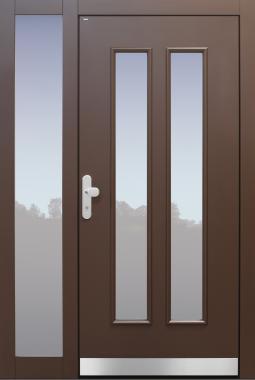 Haustür Landhaus klassisch rustikal, braun, Topiccore, Seitenteil, Sicherheitstür, passivhaustauglich, besser als alu, Glas