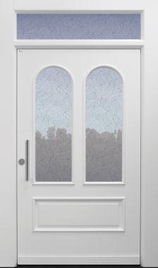 Haustür Landhaus klassisch rustikal, weiß, Topiccore, Sicherheitstür, passivhaustauglich, besser als alu, Glas, Oberlichte