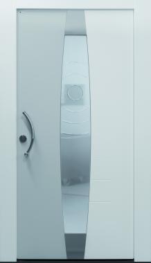 Haustür Current A403 mit Stock G100 und Stockverbreiterung Sonder, grau und weiß, Glasmotiv
