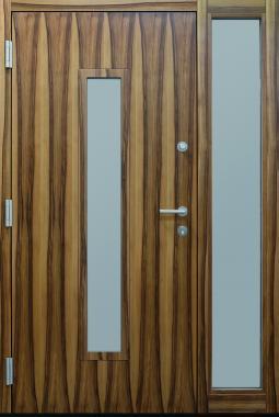 Haustüren, modern, braun,  TOPICcore, Holz, Edelstahl, Sicherheitstür, passivhaustauglich, besser als alu, Glas