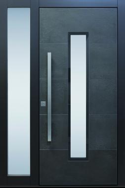 Haustür modern anthrazit, grau Keramik, Sicherheitstür, passivhaustauglich, TOPICcore, besser als alu, Glas, Seitenteil