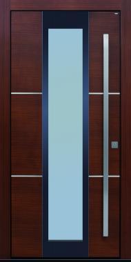 Haustüren modern, braun,  TOPICcore, Holz, Edelstahl, Sicherheitstür, passivhaustauglich, besser als alu, Glas