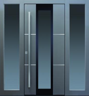 Haustür modern, anthrazit, dunkelgrau, Edelstahl, Glas, Sicherheitstür, passivhaustauglich, besser als alu