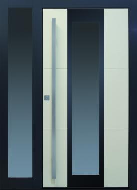 Haustür modern beige anthrazit Keramik, Sicherheitstür, passivhaustauglich, TOPICcore, besser als alu, Glas, Seitenteil