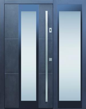 Haustür modern, anthrazit, grau, Keramik, Sicherheitstür, passivhaustauglich, TOPICcore, besser als alu, Glas, Seitenteil, Fingerprint