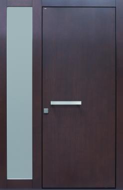 Haustür modern, braun,  TOPICcore, Holz, Edelstahl, Sicherheitstür, passivhaustauglich, besser als alu, Glas