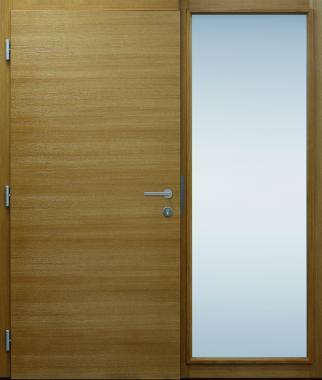 Haustür innen, modern, Holz, Eiche, Edelstahl, Sicherheitstür, passivhaustauglich, besser als Alu, Glas