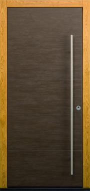 Haustür modern braun, Keramik, Holz, Eiche, Sicherheitstür, passivhaustauglich, TOPICcore, besser als alu