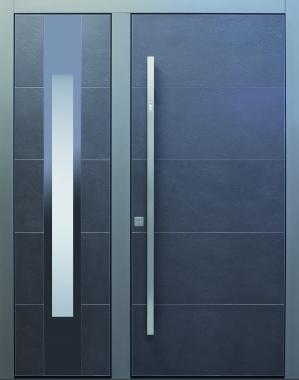 Haustür modern, grau, anthrazit, Sicherheitstür, passivhaustauglich, TOPICcore, besser als alu, Fingerprint, Glas, Seitenteil