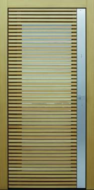 Haustür modern, Holz, Lärche, Edelstahl, Sicherheitstür, passivhaustauglich, besser als alu, Glas