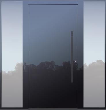 Haustür modern, anthrazit TOPICcore, mit Seitenteil, Sicherheitstür, passivhaustauglich, besser als alu, Glas