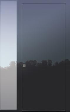 Haustür modern, TOPICcore, Dunkelgrau, Anthrazit, Glaslackierung, Sicherheitstür, passivhaustauglich, besser als Alu, Glas, Seitenteil