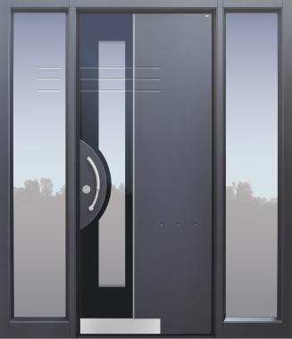 Haustür modern, grau, TOPICcore, Seitenteil, Sicherheitstür, passivhaustauglich, besser als Alu, Glas