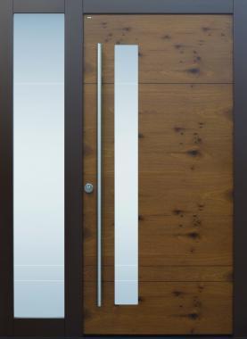 Haustür modern, braun, TOPICcore, Holz,  Sicherheitstür, besser als Alu, Seitenteil, Glas