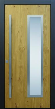 Haustür modern, anthrazit, TOPICcore, Holz, Edelstahl, Sicherheitstür, passivhaustauglich, besser als alu, Glas