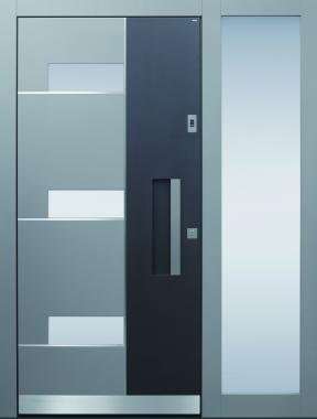 Haustür modern, anthrazit, grau, TOPICcore, Sicherheitstür, passivhaustauglich, besser als alu, Seitenteil, Glas