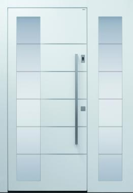 Haustür modern weiß, TOPICcore, Sicherheitstür, passivhaustauglich, besser als alu, Seitenteil, Glas