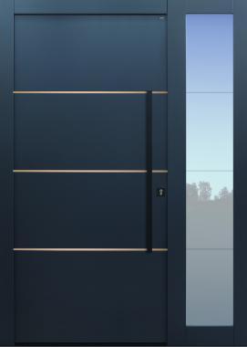 Haustür modern, TOPICcore, anthrazit, dunkelgrau, Lisenen Bronze, Sicherheitstür, passivhaustauglich, besser als Alu, Glas, Seitenteil