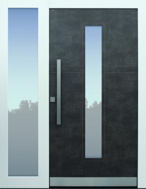 Haustür modern, TOPICcore, Exterior, Prado Agate Grey, Sicherheitstür, passivhaustauglich, besser als Alu, Seitenteil