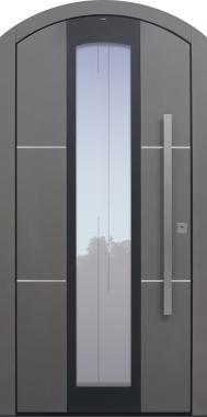 Haustür grau mit Segmentbogen mit Edelstahllisenen Modell B35-T1