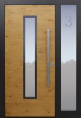Haustür modern, Holz, Eiche, anthrazit, TOPICcore, Hausnumme sandgestrahlt, Seitenteil, Sicherheitstür, passivhaustauglich, besser als Alu, Glas