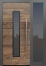 Haustür modern, Holz, Altholz, Eiche, Seitenteil, Sicherheitstür, passivhaustauglich, besser als alu, Glas