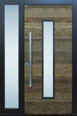 Haustür modern anthrazit, Holz, Altholz, Eiche, über 300 Jahre, Sicherheitstür, passivhaustauglich, TOPICcore, besser als alu, Seitenteil Glas