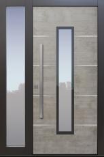 Haustür modern, Echtbeton, Beton, Grau, Seitenteil, Sicherheitstür, passivhaustauglich, besser als alu, Glas