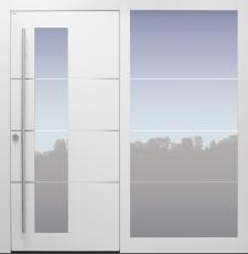 Haustür modern, weiß, TOPICcore, Edelstahl, Seitenteil, Sicherheitstür, passivhaustauglich, besser als Alu, Glas