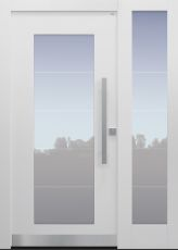 Haustür modern, TOPICcore, Weiß, Sicherheitstür, passivhaustauglich, besser als Alu, Glas, Seitenteil, Sandstrahlung