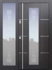 Haustür modern, TOPICcore, Anthrazit, Dunkelgrau, Sicherheitstür, passivhaustauglich, besser als Alu, Glas, Seitenteil, Fingerprint, Edelstahllisenen, Glasmotiv