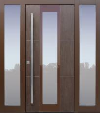 Haustür modern, Keramik, braun, TOPICcore, Seitenteil, Sicherheitstür, passivhaustauglich, besser als Alu, Glas