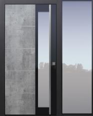Haustür modern, TOPICcore, Exterior, Skyline, Grau, Sicherheitstür, passivhaustauglich, besser als Alu, Glas, Seitenteil